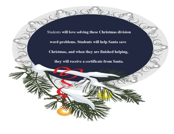 Christmas Division Word Problems by Linda Boyd