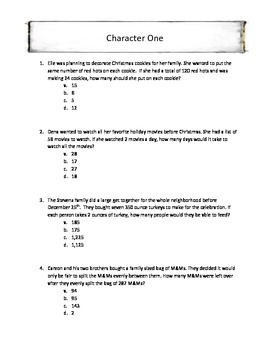 Christmas Math Long Division Word Problems Mystery Holiday Characters