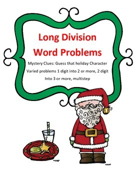 Christmas Math Long Division Word Problems Mystery Holiday