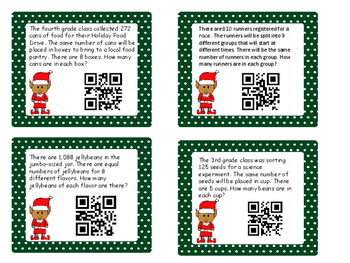 Christmas Division Word Problems with QR Codes