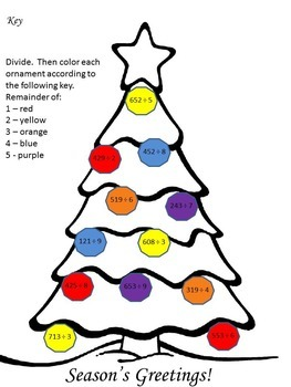Christmas Division w/ Remainders - Color the Remainders