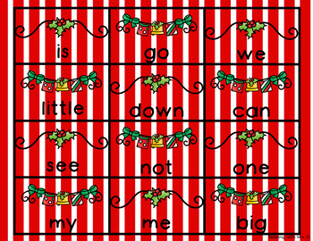 Christmas Dolch Alphabetical Order cards