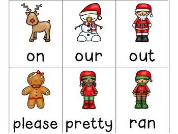 Christmas Dolch Lists Word Card Games:  Pre-Primer through Third Grade