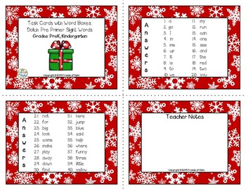 Christmas Dolch Pre Primer Sight Word in Word Boxes