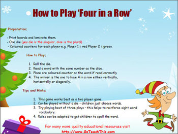 Christmas Dolch Sight Word Games - 10 Chistmas Four in a Row Game Boards