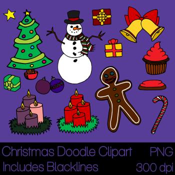 Christmas Doodle Clip Art PNG 300 dpi