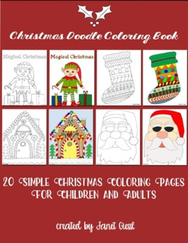 Christmas Doodle Coloring Book (20 Coloring Pages)