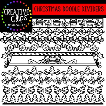 Christmas Clipart Doodle Dividers {Creative Clips Clipart}