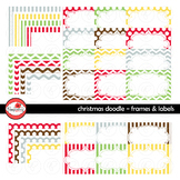 Christmas Doodle Frames and Labels Digital Borders Clipart by Poppydreamz