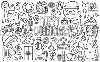 Christmas Doodles Coloring Page