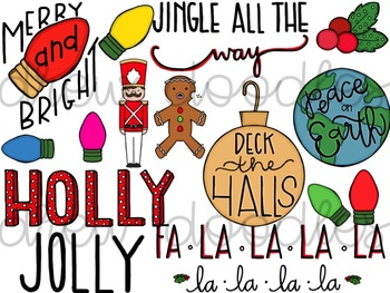 Christmas Doodles Digital Clip Art Set- Color and Black Line Versions