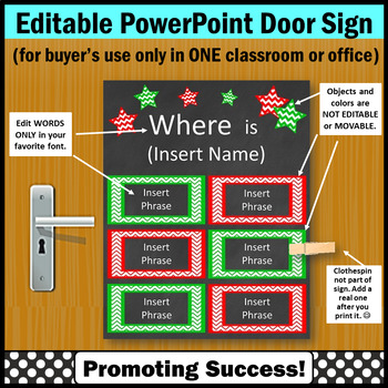 Christmas Classroom Decor, Red and Green Where Are We Door Sign EDITABLE