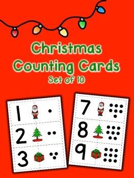 Christmas Dot Counting Cards - Set of 10