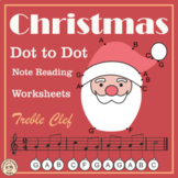 Christmas Dot to Dot Note Reading Worksheets {Treble Clef} with answers