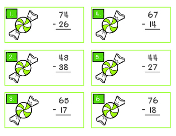 Christmas Double Digit Addition and Subtraction Task Cards