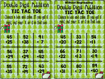 Christmas Double Digit Addition and Subtraction tic tac toe