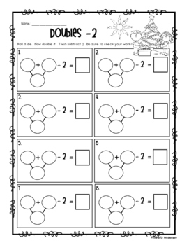 Christmas Doubles + 1, -1, +2, -2 Activity