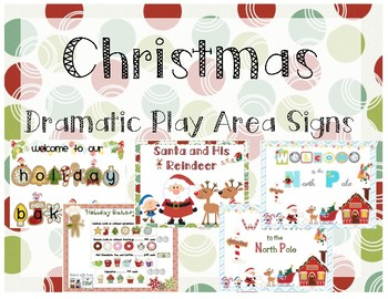 Christmas Dramatic Play Area Signs