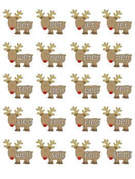 """Christmas """"E Families"""" Word Work"""