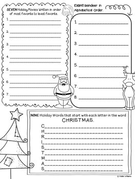 Christmas Writing - 12 Days of ELA Christmas Activities