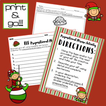 Christmas ELA Activity - Elf Prepositional Phrases