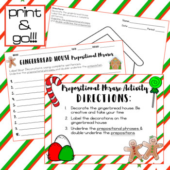 Christmas ELA Activity - Gingerbread House Prepositional Phrases