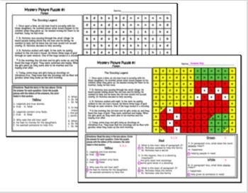 Christmas ELA Mystery Puzzles - Grade 5 Edition
