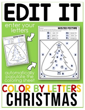 Christmas - Editable Color By Letter