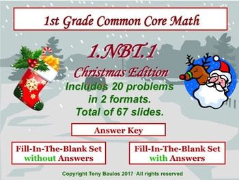 Christmas Edition 1st Grade Math 1.NBT.1 Extend The Counting Sequence