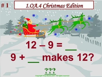 Christmas Edition 1st Grade Math 1.OA.4 Subtraction As An Unknown-Addend Problem