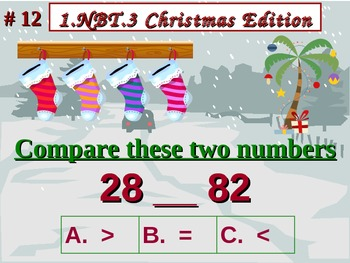 Christmas Edition 1st Grade Math 1.NBT.3 Compare Two Two-Digit Numbers