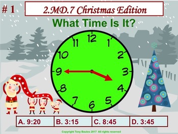 Christmas Edition 2nd Grade Math - 2 MD.7 Practice of Time Measurement 2.MD.7