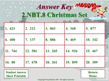 Christmas Edition 2nd Grade Math - 2.NBT.8 Mentally Add or Subtract 10 or 100
