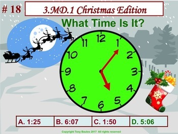 Christmas Edition 3rd Grade Math - 3 MD.1 Tell and write time. 3.MD.1