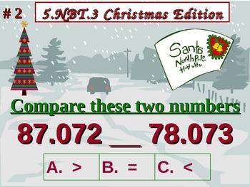 Christmas Edition 5th Grade Math 5 NBT.3 Compare Decimals To Thousandths 5.NBT.3