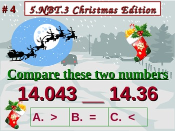 Christmas Edition 5th Grade Math 5 NBT.3 Compare Decimals To Thousandths 5.NBT.3