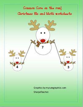 Christmas Ela reading and math worksheet printables