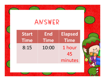 Christmas Elapsed Time Word Problems