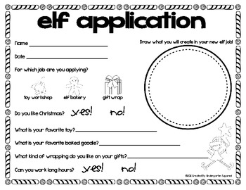 Christmas Elf Application Freebie!