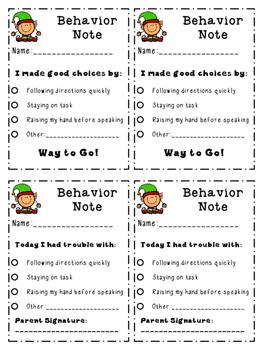Christmas Elf Behavior Notes