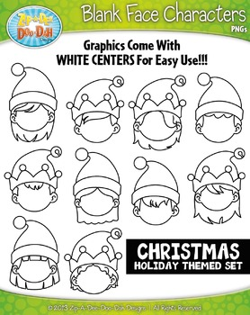 Christmas Elf Blank Face Characters Clipart Set — Includes