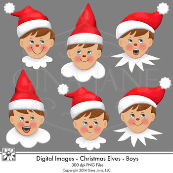 Christmas Elf Boys Faces Clip Art by Gina Jane