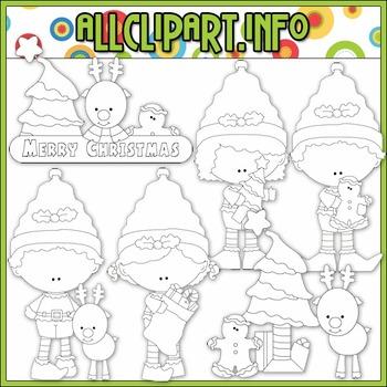 BUNDLED SET - Christmas Elf Clip Art & Digital Stamp Bundle - Alice Smith