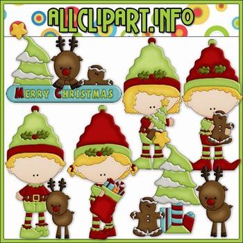 BUNDLED SET - Christmas Elf Clip Art & Digital Stamp Bundl