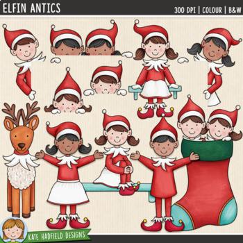 "Christmas Elf Clip Art 2: ""Elfin Antics"""