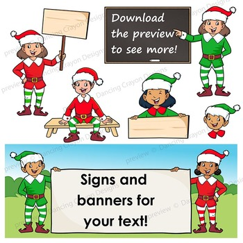Christmas Elf Clip Art | Elves with signs