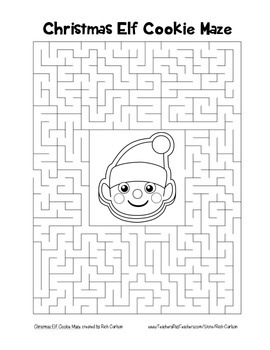 """""""Christmas Elf Cookie"""" Maze! Holiday FUN! (Color and Black Line)"""