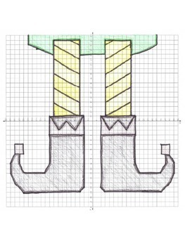 Christmas Math Elf Shoes Coordinate Graphing Picture