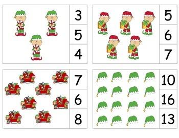 Christmas Elf Count & Clip 1-20