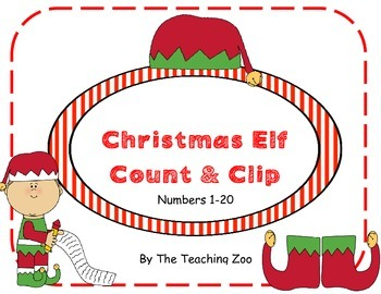 Christmas Elf Count & Clip 1-20
